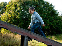 Boy walks up the stairs. To the background of trees Royalty Free Stock Image
