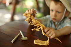 Boy wants to be an archaeologist. Little boy wants to be an archaeologist Stock Photos