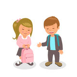 The boy wants to help carry briefcase girls. First love between schoolchildren. Vector illustration of Valentine's Day.  Stock Images