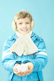 Boy in warm clothing Stock Images