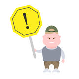 Boy with a warning sign Royalty Free Stock Images