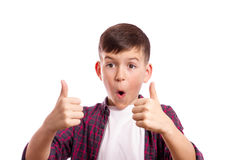 The boy was pushed forward thumbs Stock Photos