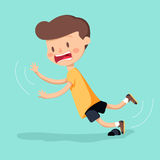 Boy was stumbling on rock while walking. Vector illustration Royalty Free Stock Photo