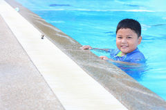 The boy was swimming Royalty Free Stock Photography