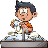 Boy washing dishes. Vector clip art illustration with simple gradients. Some elements on separate layers Royalty Free Stock Photography