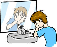 Boy Washing Face Stock Photo