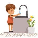 Boy washing hands vector illustration
