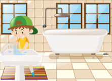 Boy washing hands in toilet. Illustration Royalty Free Stock Photo