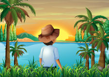 A boy watching the beauty of nature Stock Image