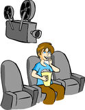 Boy Watching Movie Stock Images