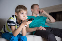 Boy watching movie Royalty Free Stock Photos