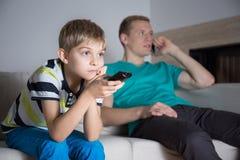 Boy watching movie Royalty Free Stock Photos