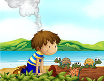 A boy watching the three turtles Stock Images