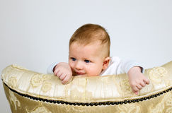 Boy is watching through a top of chair Royalty Free Stock Image