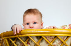 Boy is watching through a top of chair Stock Photography