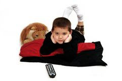 Boy Watching TV Stock Images