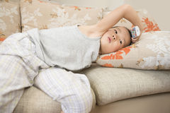 Boy watching TV Royalty Free Stock Images