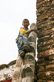 The boy on the watchtower in danba,sichuan,china Royalty Free Stock Image