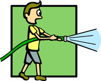 Boy with a water hose vector illustration. Vector illustration of a boy with a water hose Stock Photos