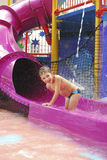 Boy in the water park splashes water jet Stock Photo