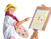 Boy with watercolor painting Stock Photos