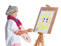 Boy with watercolor painting Royalty Free Stock Image