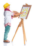 Boy with watercolor painting Royalty Free Stock Photo