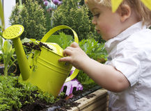 Boy and watering can Royalty Free Stock Image