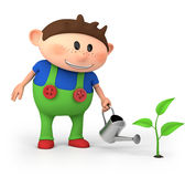 Boy watering sprout. Cute little cartoon boy watering sprout - high quality 3d illustration Royalty Free Stock Photography