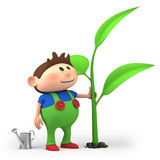 Boy watering sprout. Cute little cartoon boy watering sprout - high quality 3d illustration Royalty Free Stock Photos
