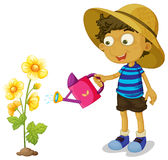 Boy watering yellow flower with can Stock Images