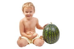 Boy with a watermelon Royalty Free Stock Images
