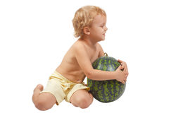 Boy with a watermelon Royalty Free Stock Photo