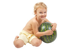Boy with a watermelon Stock Photography
