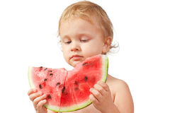 Boy with a watermelon Royalty Free Stock Image