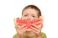 Boy and watermelon Royalty Free Stock Image
