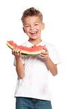 Boy with watermelon Stock Photo