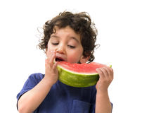 Boy and watermelon. Isolated on white Royalty Free Stock Photography
