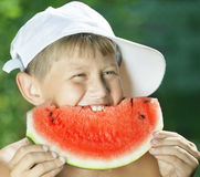 Boy and watermelon Royalty Free Stock Photo