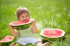 Boy with watermelon Royalty Free Stock Photo
