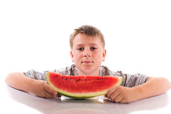 Boy with  watermelon Royalty Free Stock Image