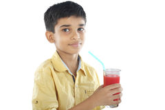 Boy with watermelon juice Royalty Free Stock Photo