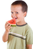 Boy with watermelon slice Stock Photo