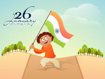 Boy waving Flag for Indian Republic Day. Stock Photos