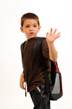 Boy waving goodbye Stock Images
