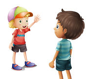 A boy waving at his friend Stock Photos