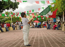Boy waving Mexican flag Stock Photo
