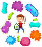 Boy with weapon fighting germs Royalty Free Stock Images