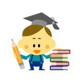 The Boy Wear a Mortar Board. Cartoon Vector The Boy Wear a Mortar Board standing side pile many books Royalty Free Stock Photo