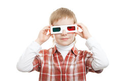 Boy wearing 3d glasses Royalty Free Stock Image